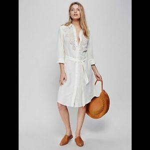 Free People Linen Blend Eyelet Dress